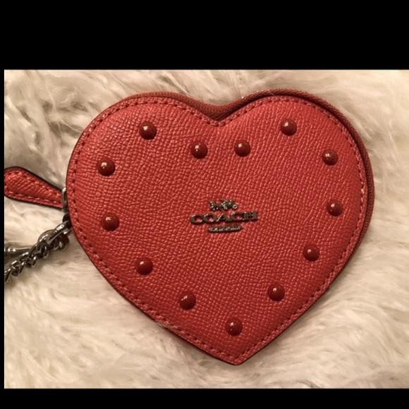 Coach Heart Shaped Coin Case Wristlet